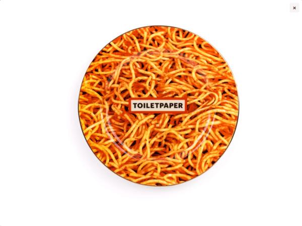 Ceramic Plates Toilet Paper Spaghetti Plate – Gold Border